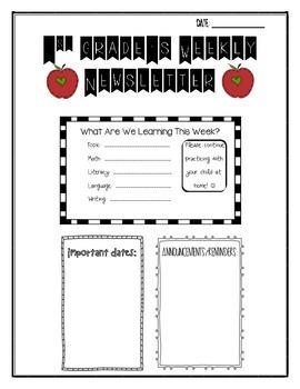 First Grade Weekly Newsletter