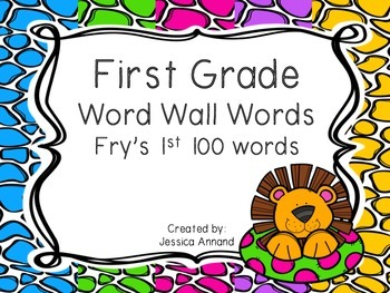 First Grade Word Wall Words - Fry's 1st 100 words