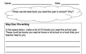 First Grade Writing Assessment