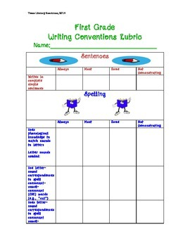 First Grade Writing Conventions Rubric***Standards Based A