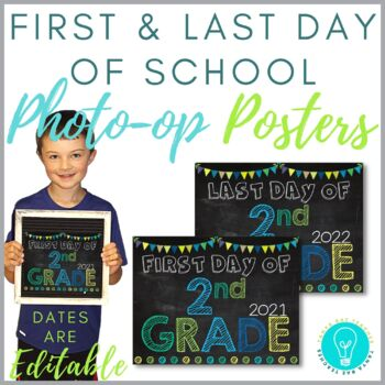 First & Last Day of School Posters: Blues, Greens & Teals