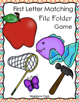 First Letter Matching File Folder Game