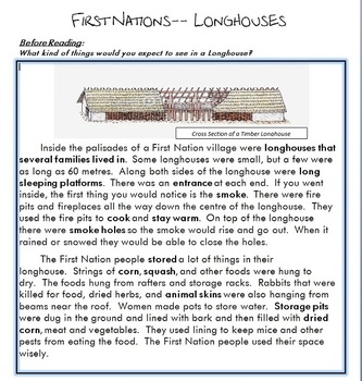 First Nation Longhouses Worksheet