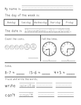 First/Second Grade Morning Work January through June - gro