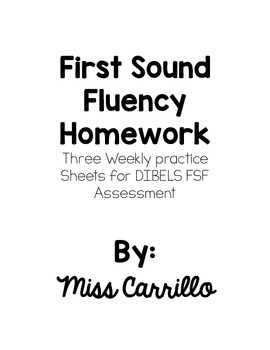 First Sound Fluency Homework
