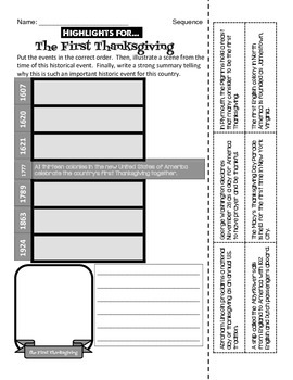 First Thanksgiving - Timeline