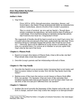 First They Killed My Father -- study guide/discussion questions