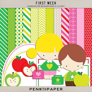 First Week | Coordinated Backgrounds and Clipart