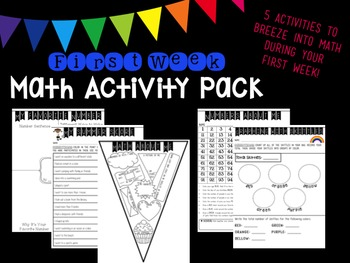 First Week Math Activity Pack