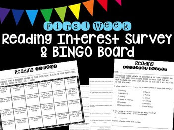 First Week Reading Interest Survey and Reading Bingo