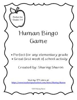 First Week of School Activity - Human Bingo