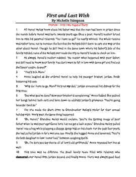 First and Last Wish - Short Story with Teacher's Resources