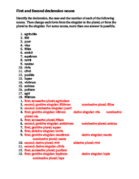 First and Second Declension nouns in Latin worksheet