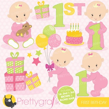 First birthday clipart commercial use, vector graphics, di