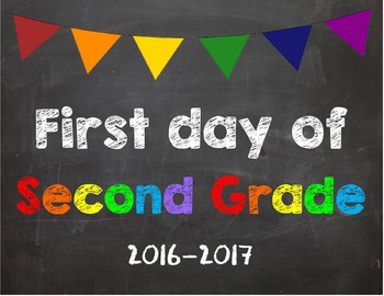 First day of 2nd Grade Poster/Sign 2016-2017 date