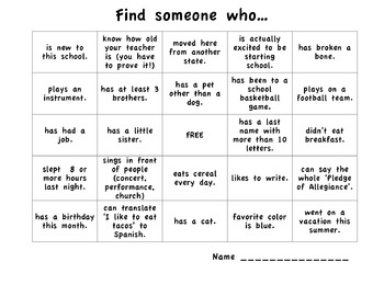 First day of school person bingo