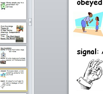 First grade Core Knowledge Vocabulary cards poster Unit 10