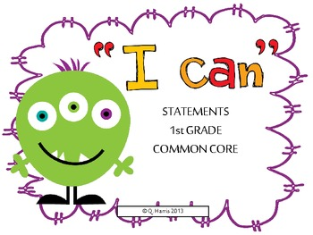 """First grade """"I can"""" statements-common core-monster"""