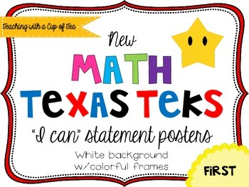 First grade *New* Math TEKS Posters {white background w/co