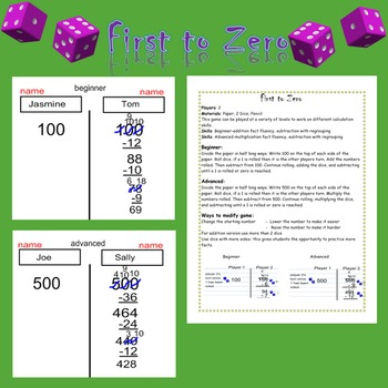 Addition Subtraction  Multiplication  Subtraction Game