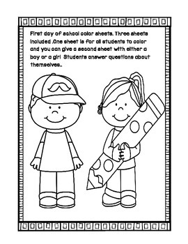 FirstDay of School coloring sheets