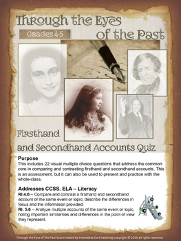 Firsthand and Secondhand Accounts Quiz -- Through the Eyes