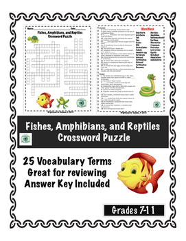 Fish, Amphibians, and Reptiles Crossword Puzzle