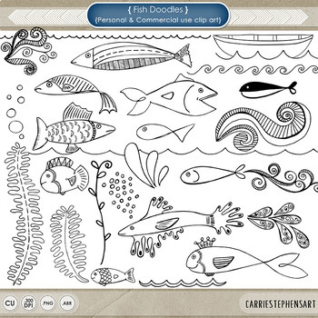 Fish ClipArt, Fish Doodles, Digital Stamps + Photoshop Bru