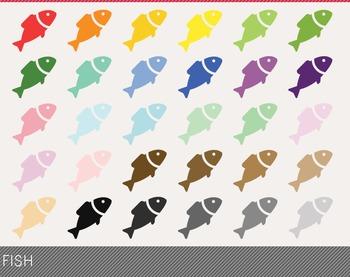 Fish Digital Clipart, Fish Graphics, Fish PNG, Rainbow Fis