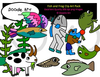 Fish & Frog Clipart Pack