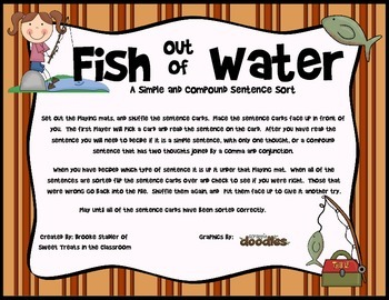 Fish Out of Water- A Simple and Compound Sentence Sort