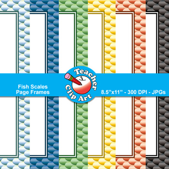 Fish Scales Page Frames Clip Art