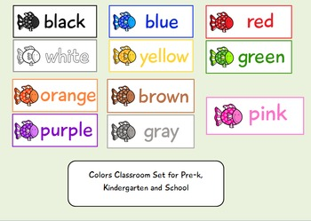 Fish Themed Classroom Color Flashcards for Pre-k and Kindergarten