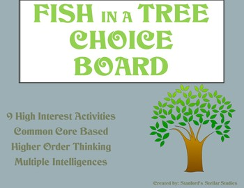 Fish in a Tree Choice Board Tic Tac Toe Novel Activities A