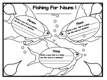 Fishing For Nouns ! Noun Practice Worksheet