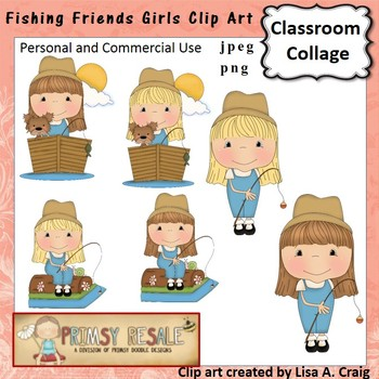 Fishing Friends Girls Clip Art Color  personal & commercial use