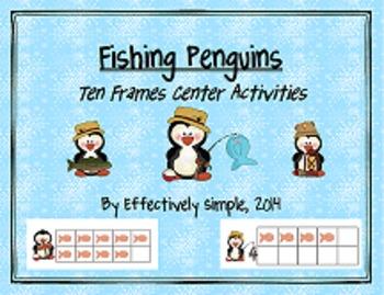 Fishing Penguins Ten Frames Center Activities & Worksheets