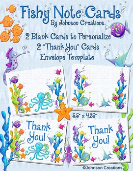 Fishy Note Cards & Envelope Template