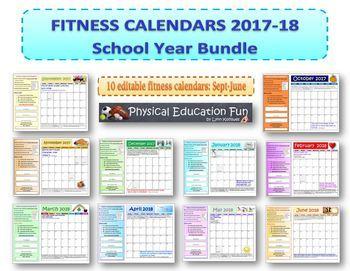Fitness Calendars 2016-2017 School Year