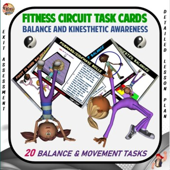 "Fitness Circuit Task Cards- ""Balance and Kinesthetic Awareness"""
