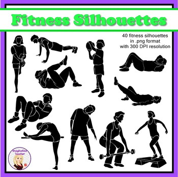 Fitness / Exercise Silhouette Clipart (set of 40)