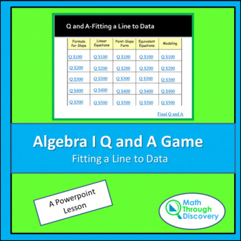 Algebra I Powerpoint Q and A Game - Fitting a Line to Data