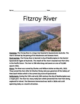 Fitzroy River - Australia - Review Article Facts Questions