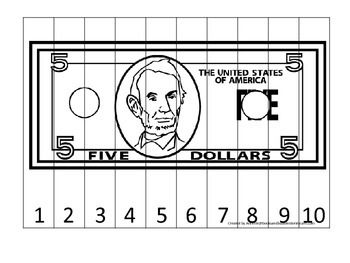 Five Dollar Bill 1-10 Number Sequence Puzzle. Financial ed