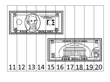Five Dollar Bill 11-20 Number Sequence Puzzle. Financial e