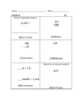 Five Easy Steps Math Review Grade 4 Set 1