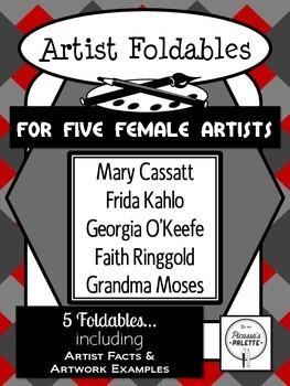 Five Female Artist Foldables: Cassatt, Kahlo, O'Keefe, Rin