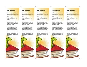 Five Finger Bookmark to picking out book levels