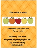 Five Little Apples Poetry Center Activity Packet