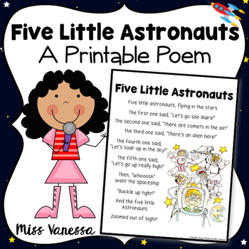 Five Little Astronauts ~ Printable Poem for Outer Space Th